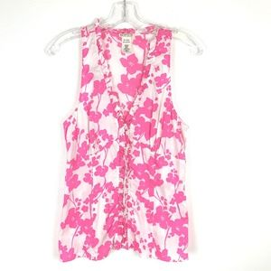Notice White Pink Floral sleeveless top 8